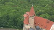 CU AERIAL DS ZI ZO Shot of Heldburg castle / Germany