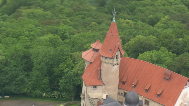CU AERIAL DS ZI ZO Shot of Heldburg castle / Germany