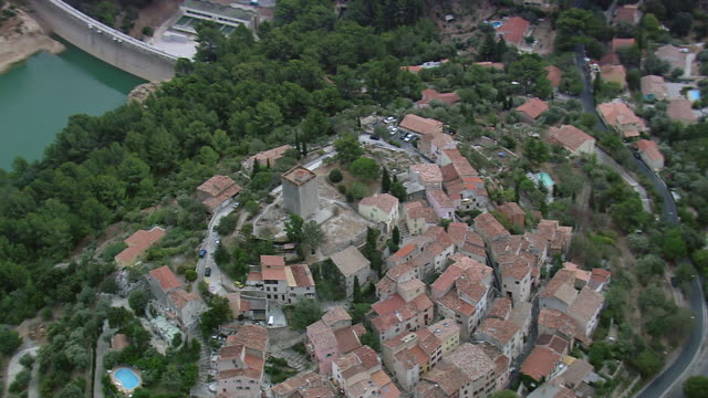 MS AERIAL Shot of Hill town at Sollies Pont / Provence-Alpes-Cote d'Azur, Spain