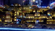 WS AERIAL shot of Hongyadong entertainment complex at night/ Chongqing,China
