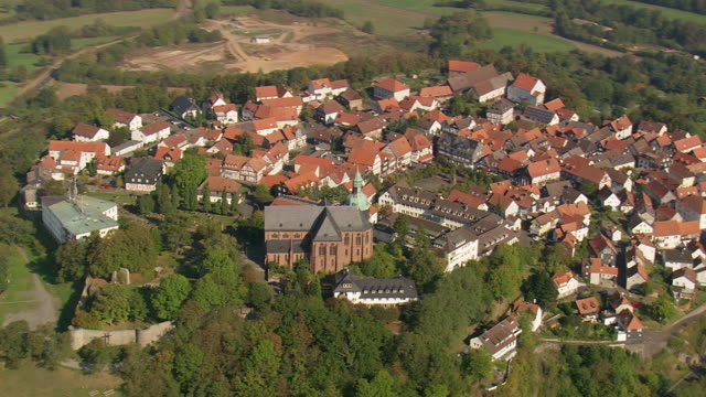 MS AERIAL Shot of houses and castle at Kirchham / Germany