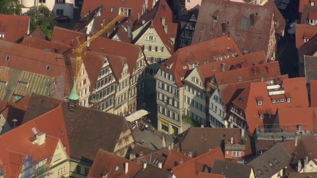 MS AERIAL Shot of houses and people at Tubingen / Germany