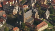 MS AERIAL Shot of houses and St. Petri Cathedral at Fritzlar / Germany