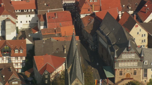 MS AERIAL Shot of houses and tower of St. Petri Cathedral at Fritzlar / Germany