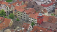 MS AERIAL Shot of houses and town hall with castle at Gotha / Germany