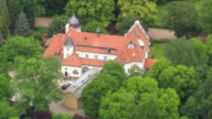 MS AERIAL ZO Shot of houses and trees at Grunewald / Germany