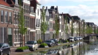 MS Shot of houses at Turfmarkt / Gouda, South Holland, Netherlands