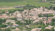 WS AERIAL Shot of houses in Visan / Rhone Alpes, France
