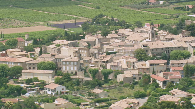 WS AERIAL Shot of houses in Visan / Rhone Alpes, France