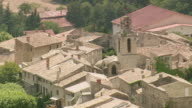 MS AERIAL ZO Shot of houses in Visan / Rhone Alpes, France
