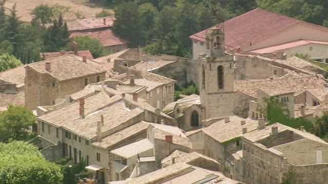 MS AERIAL ZO Shot of houses in Visan / Rhone Alpes, France