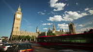 MS T/L Shot of Houses of Parliament and Big Ben on sunny summers day / London, United Kingdom