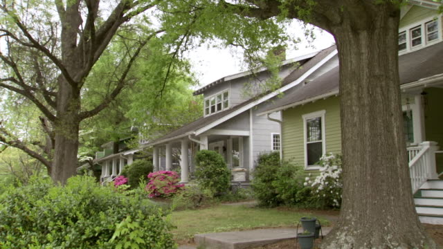 MS Shot of houses on residential street with trees and shrubs in their front yards / Greensboro, North Carolina, United States
