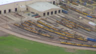 MS AERIAL TS Shot of hump yard of trains at Bailey Train Yard / North Platte, Nebraska, United States