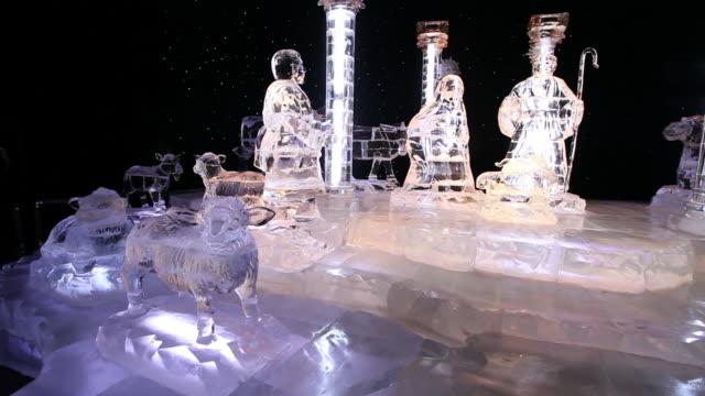 MS PAN Shot of ice sculpture of nativity scene / Dallas, Texas, United States