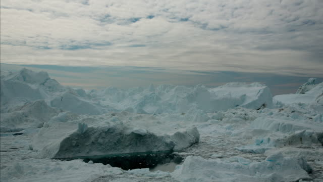 MS T/L Shot of icebergs moving in water / Ilulissat, Greenland