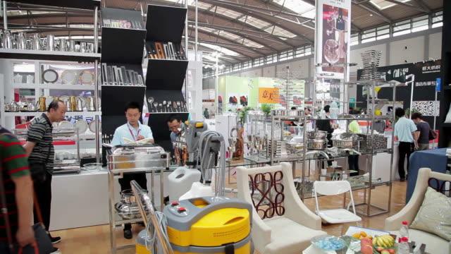 MS PAN Shot of interior of exhibition hall / Xian, Shaanxi, China