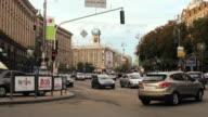MS T/L  Shot of intersection on hreshchatyk street  / Kiev, Ukraine