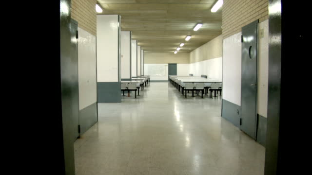 MS POV Shot of jail dining room / Barcelona, Spain