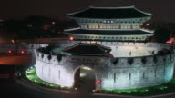 MS T/L Shot of Janganmun gate in Suwonhwasung Castle (UNESCO Heritage) / Suwon, Gyeonggi-do, South Korea