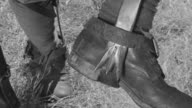 CU Shot of Japanese soldiers boots with spikes for tree climbing