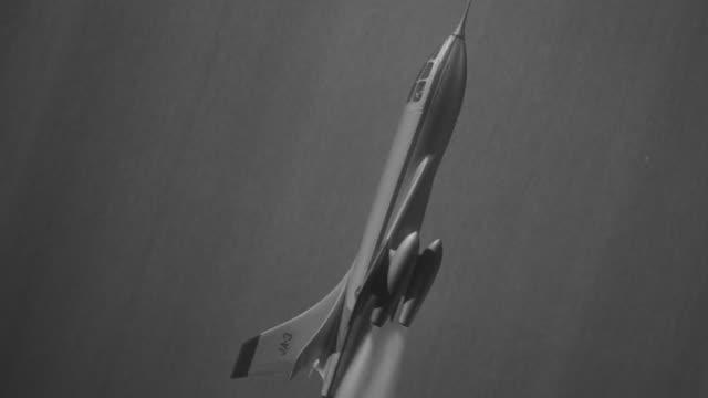 MS Shot of jet in steep ascent under rocket power