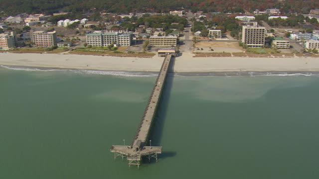 WS AERIAL Shot of jetty / South Carolina, United States
