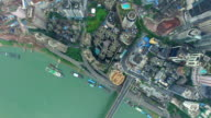WS AERIAL shot of Jialing River and cityscape/ Chongqing,China