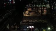 MS Shot of JR trains and Skateboard park and Shibuya station at night / Shibuya, Tokyo, Japan