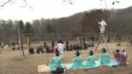 MS ZI Shot of Jultagi (Korean tradition of tightrope walking) / Gwacheon Kyonggi-Do Province South Korea