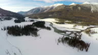 WS AERIAL shot of Kanas scenery in winter/Xinjiang,China