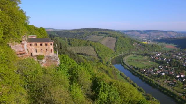 WS HA Shot of Kastel Staadt at Saar valley near Saar burg / Kastel Staadt, Rhineland Palatinate, Germany