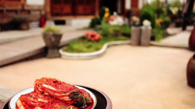 Shot of Kimchi with traditional Korean House