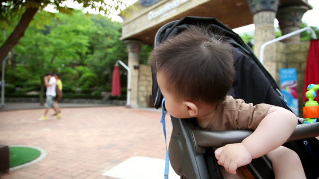 MS Shot of Korean baby sitting in carriage and put finger in his nose / Jeju, Jeju-do, South Korea