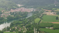 WS AERIAL ZO Shot of La Motte Fanjas town and farm fields / Rhone Alpes, France