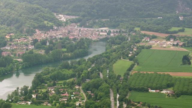 WS AERIAL ZO Shot of La Motte Fanjas town and farm fields / Rhone Alpes, France