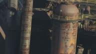 CU AERIAL TU Shot of large pipes at Bethlehem steel plant / Bethlehem, Pennsylvania, United States