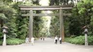 WS Shot of large shrine at entrance of yoyogi park / Tokyo, Kanto, Japan