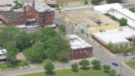MS AERIAL Shot of Laugh O Gram Studio building / Kansas City, Missouri, United States