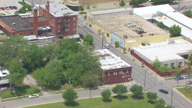 MS AERIAL Shot of Laugh O Gram Studio building / Kansas City, Missouri, United States