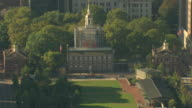 MS AERIAL TU ZI Shot of lawn in front of Independence Hall / Philadelphia, Pennsylvania, United States