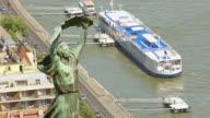 CU AERIAL Shot of Liberty Statue / Budapest, Hungary