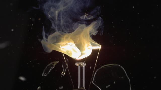 ECU SLO MO Shot of light bulb, showing burning and smoking tungsten wire / Munich, Bavaria, Germany