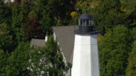 CU AERIAL TU ZO Shot of lighthouse off New London / Connecticut, United States