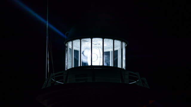 CU T/L ZI Shot of lighthouse turning with beam of light / Ulleung, Gyeongsangbuk do, South Korea