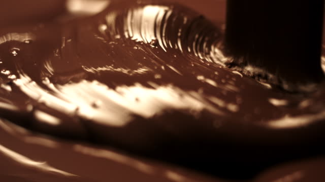 CU SLO MO Shot of Liquid chocolate being poured on to chocolate bar