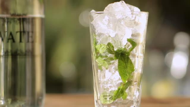 CU Shot of Liquid poured into glass of ice and mint / South Africa
