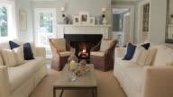 MS PAN Shot of living room in stylish home / Lake Oswego, Oregon, United States