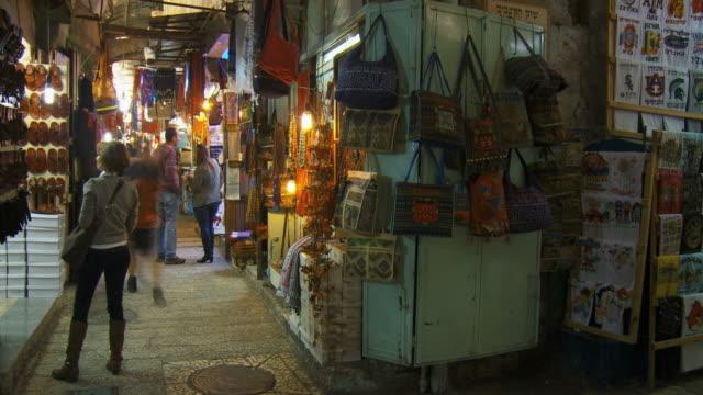 MS T/L Shot of Local Arabs in old city alleys / Jerusalem, Judea, Israel