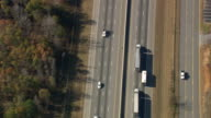 MS AERIAL TS Shot of lorry on highway / South Carolina, United States